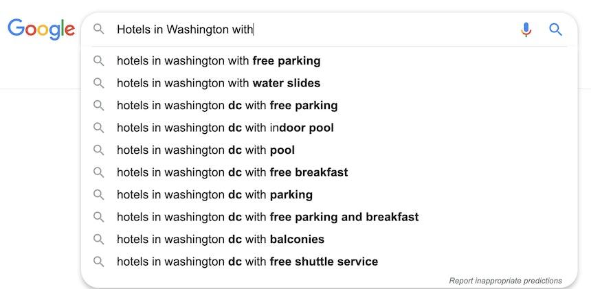 Google keywords autosuggest