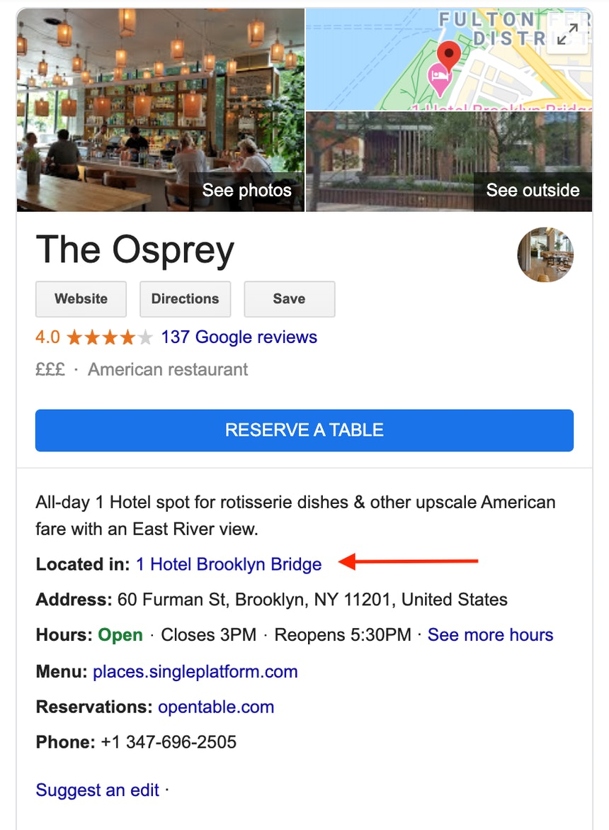 Hotel sub-business listing