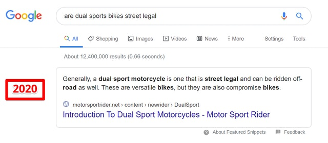 Featured snippet example 2020