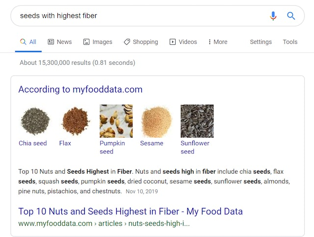 Featured snippets with clickable links