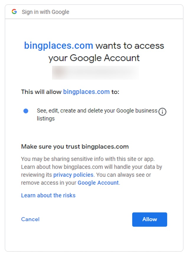 Bing connection confirmation
