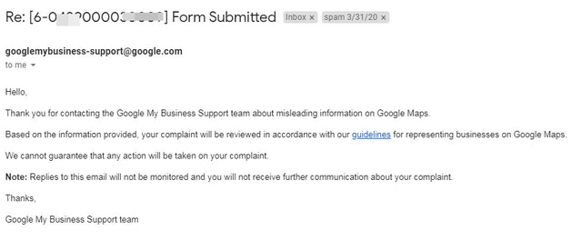 Google My Business email redressal form