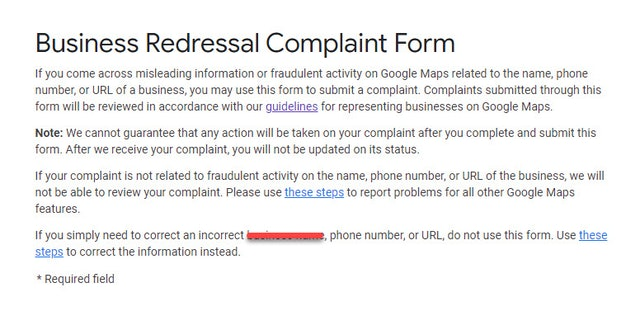 What is the Google My Business Redressal Complaint Form?