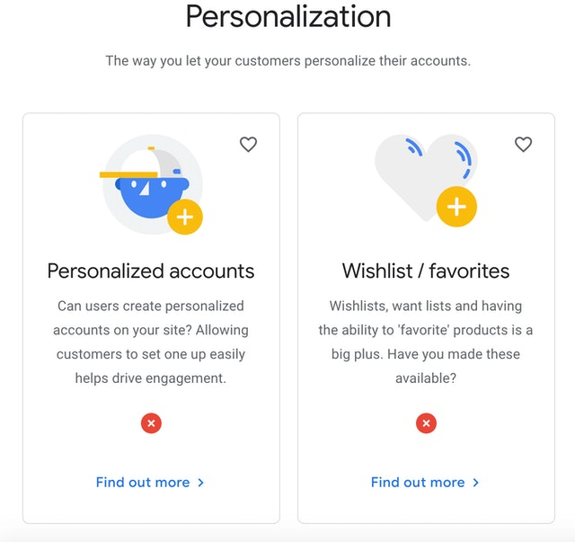 Grow my store personalization section