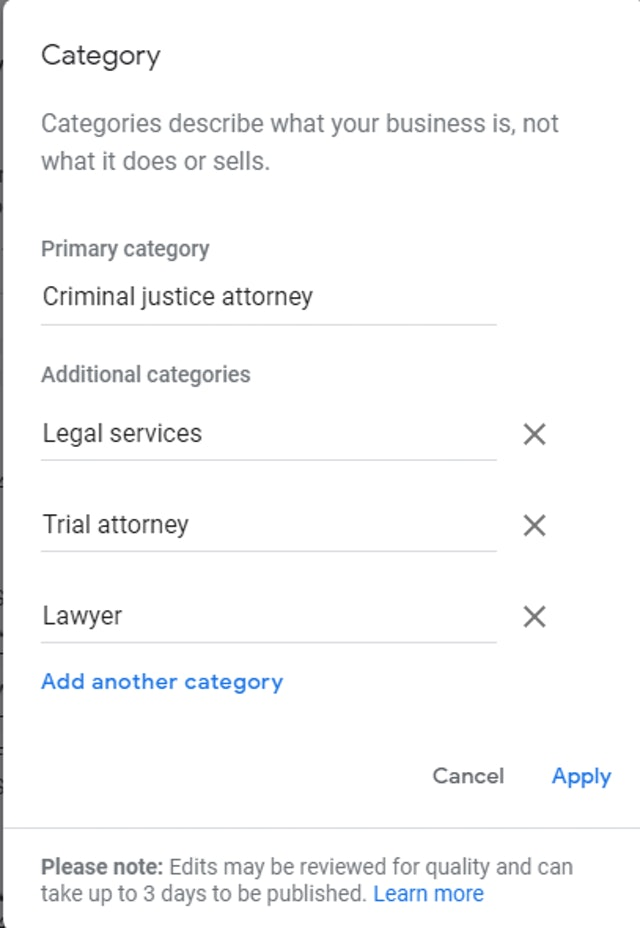 Set and test Google My Business Categories