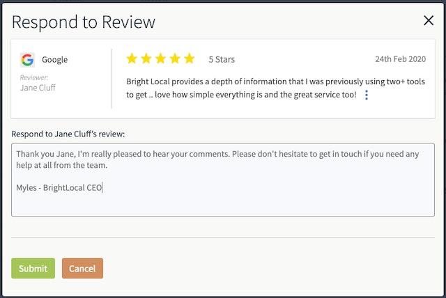Responding to reviews through BrightLocal