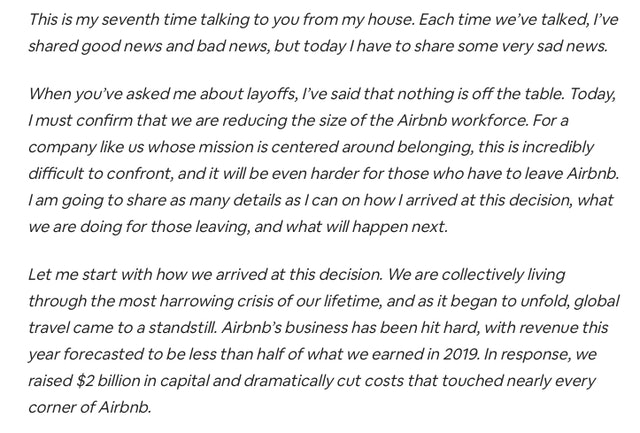Airbnb reopening letter