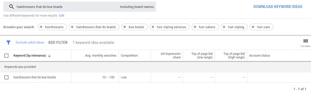 Longtail keyword search