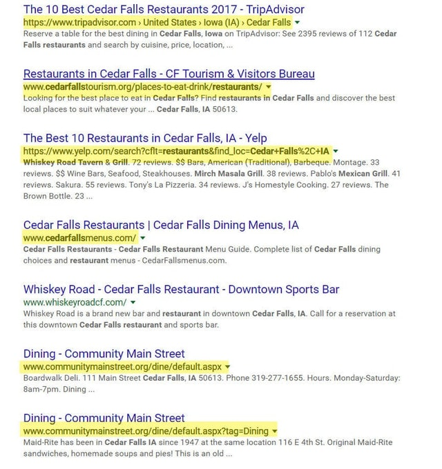 Example of citation sites in search engine results - e.g. TripAdvisor, Yelp