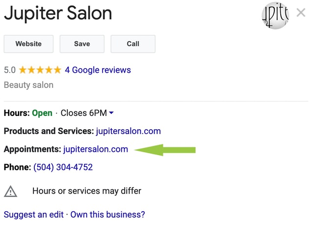 Google My Business Appointments Link