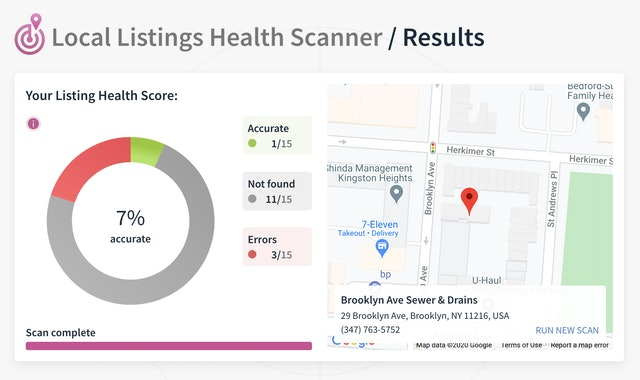 Local Listing Health Scanner Citations Check