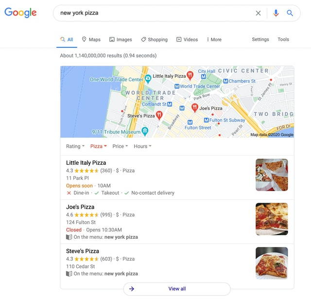 Local SERPs example
