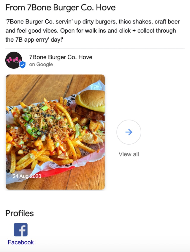 7bone Burger Co Google Posts Update