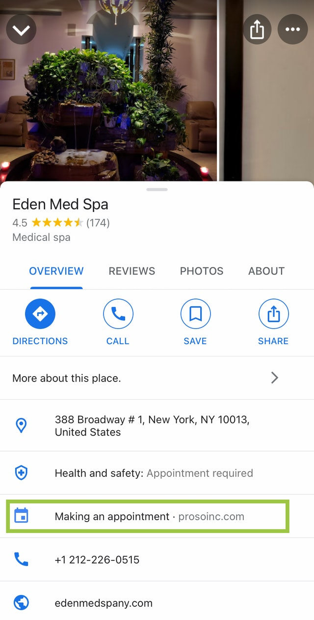 Google My Business Appointments Button