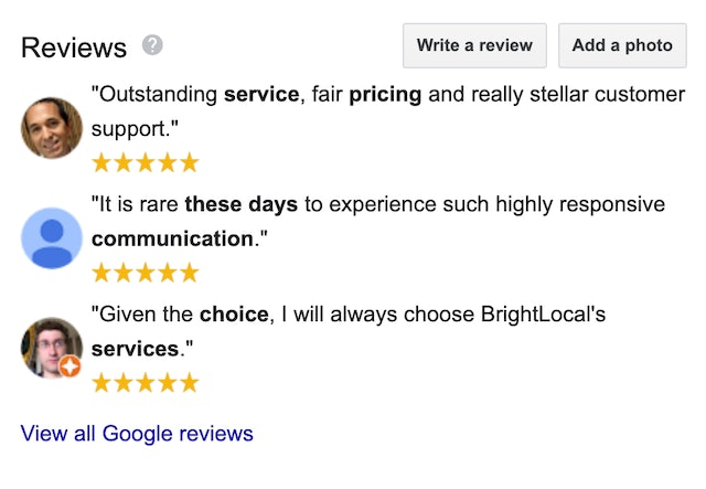 Google review snippets