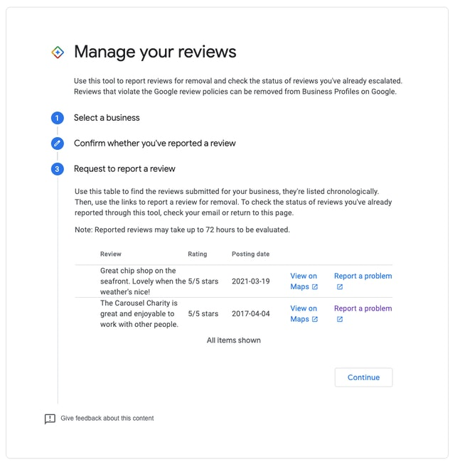 Manage your reviews request to report