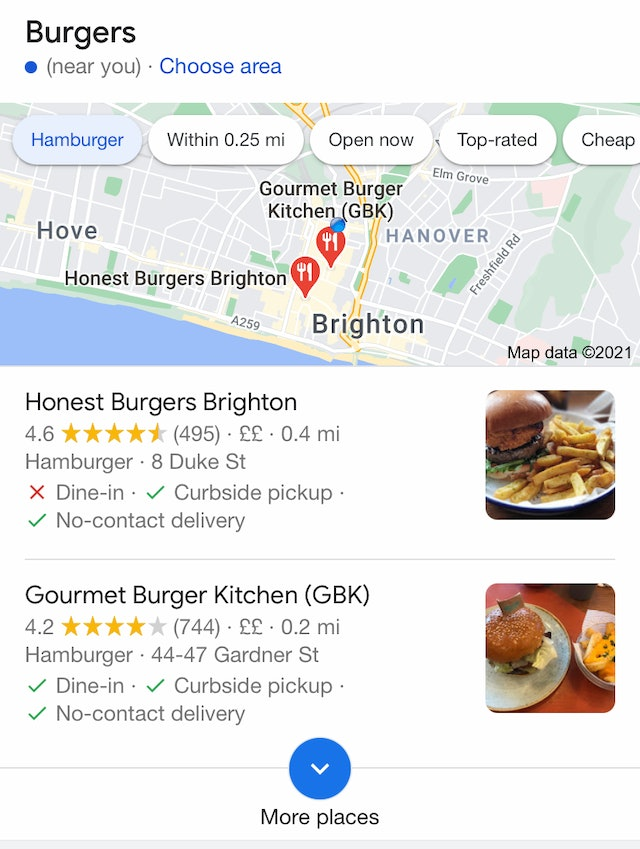 Local Two Pack Mobile Search Results