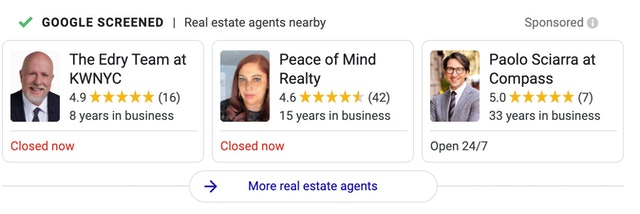 Real estate agents local services ads