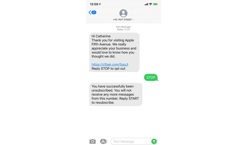SMS review request