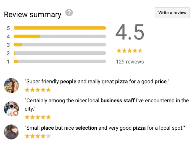 Google reviews summaries