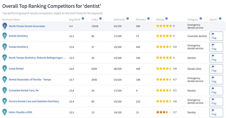 Local Search Grid Overall Competitor Report
