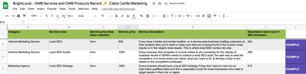 GMB products and services screenshot 23